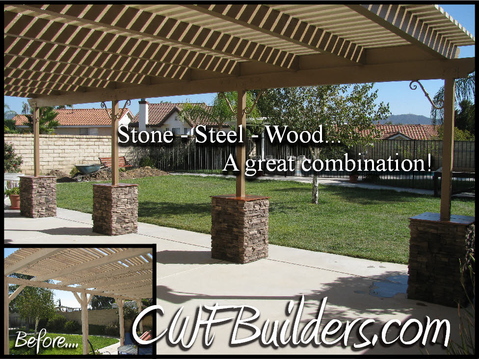 Steel Posts And Stone Pillars To Prevent Prior Dry Rot And Termite Damage.  In Addition To The Added Beauty, The Homeowner Will Enjoy This Patio For  Many